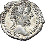 obverse:  Marcus Aurelius (161-180). AR Denarius, 173-174.