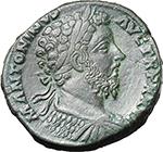 obverse:  Marcus Aurelius (161-180). AE Sestertius, 171-172 AD,