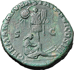 reverse:  Marcus Aurelius (161-180). AE Sestertius, 171-172 AD,