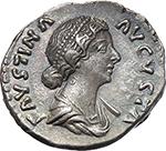 obverse:  Faustina II, wife of Marcus Aurelius, daughter of Antoninus Pius and Faustina senior (died 176 AD). AR Denarius.