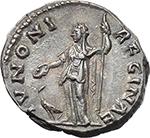 reverse:  Faustina II, wife of Marcus Aurelius, daughter of Antoninus Pius and Faustina senior (died 176 AD). AR Denarius.