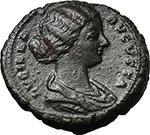 obverse:  Lucilla, wife of Lucius Verus (died 183 AD). AE As, Rome mint. Struck under Marcus Aurelius, 164-166/7 AD.