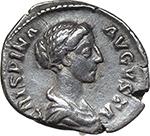 obverse:  Crispina, wife of Commodus (died in 183 AD.). AR Denarius.