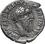 obverse:  Pertinax (193 AD.). AR Denarius.