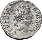 obverse:  Septimius Severus, with Caracalla (193-211). AR Denarius, 202 AD.