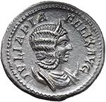 obverse:  Julia Domna, wife of Septimius Severus (died 217 AD.). AR Antoninianus.
