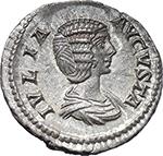 obverse:  Julia Domna, wife of Septimius Severus (died in 217 A.D.). AR Denarius, 196-211.