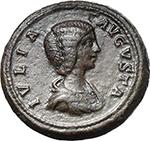 obverse:  Julia Domna, wife of Septimius Severus (died 217 AD.). AE Dupondius, 200-207.