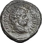 obverse:  Caracalla (198-217). Fourrée Denarius core (?), 210-213 AD.