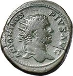 obverse:  Caracalla (198-217). AE Dupondius, 210 AD.