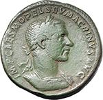 obverse:  Macrinus (217-218). AE Sestertius, 217 AD.