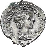 obverse:  Aquilia Severa, second wife of Elagabalus (220-222).  AR Denarius.