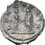 reverse:  Aquilia Severa, second wife of Elagabalus (220-222).  AR Denarius.