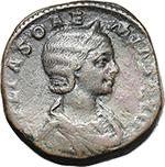 obverse:  Julia Soaemias, mother of Elagabalus (died in 222 A.D.). AE Sestertius.