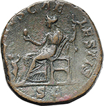 reverse:  Julia Soaemias, mother of Elagabalus (died in 222 A.D.). AE Sestertius.