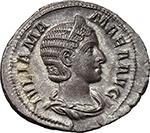 obverse:  Julia Mamaea, daughter of Julia Maesa, mother of Severus Alexander (died 225 AD). AR Denarius.