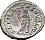 reverse:  Julia Mamaea, daughter of Julia Maesa, mother of Severus Alexander (died 225 AD). AR Denarius.