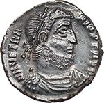 obverse:  Vetranio (350 AD). AE 18 mm. Siscia mint.