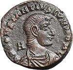 obverse:  Constantius Gallus Caesar (351-354 AD). AE 22 mm, 367-375 AD. Siscia mint.