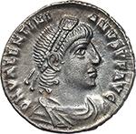 obverse:  Valentinian I (364-375). AR Reduced Siliqua, Rome mint.