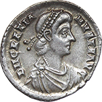obverse:  Gratian (367-383). AR Reduced Siliqua, Treveri mint.