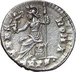 reverse:  Gratian (367-383). AR Reduced Siliqua, Treveri mint.