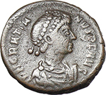 obverse:  Gratian (367-383). AE 13mm. Constantinople mint. Struck 378-383 AD.