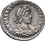 obverse:  Valentinian II (375-392). AR Reduced Siliqua, Treveri mint.