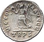 reverse:  Valentinian II (375-392). AR Reduced Siliqua, Treveri mint.
