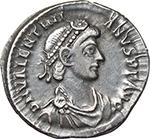 obverse:  Valentinian II (375-392). AR Reduced Siliqua, Aquileia mint.