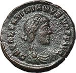 obverse:  Valentinian II (375-392). AE 15 mm, Siscia mint. Struck 379-383 AD.