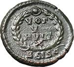 reverse:  Valentinian II (375-392). AE 15 mm, Siscia mint. Struck 379-383 AD.