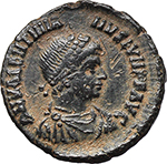 obverse:  Valentinian II (375-392). AE 18 mm, Antioch mint. Struck