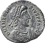 obverse:  Theodosius I (379-395). AR Reduced Siliqua, Mediolanum mint.