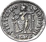 reverse:  Theodosius I (379-395). AR Reduced Siliqua, Aquileia mint.