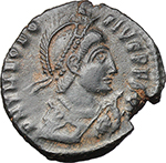 obverse:  Theodosius I (379-395). AE 22 mm. Thessalonica mint. Struck circa 383-384 AD.