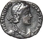 obverse:  Theodosius I (379-395). AR Half Siliqua (?), uncertain mint.