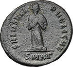 reverse:  Aelia Flaccilla, first wife of Theodosius, mother of Arcadius and Honorius (died 386 AD). AE 24 mm, 383-388 AD. Cyzicus mint.