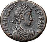 obverse:  Arcadius (383-408). AE 18 mm, Constantinople mint