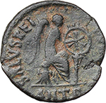 reverse:  Aelia Eudoxia (Augusta 400-404 AD). AE 15 mm. Antioch mint. Struck 401-403 AD.