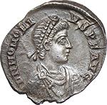 obverse:  Honorius (393-423). AR Reduced Siliqua, Mediolanum mint.