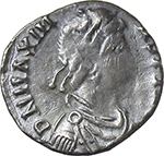obverse:  Maximus of Spain, Usurper (409-411). AR Reduced Siliqua, Barcino (Barcelona) mint.