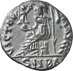 reverse:  Maximus of Spain, Usurper (409-411). AR Reduced Siliqua, Barcino (Barcelona) mint.