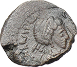 obverse:  Galla Placidia, mother of Valentinian III (died 450 AD). AE 11mm. Rome mint.