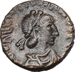 obverse:  Valentinian III (425-455). AE 12 mm. Rome mint.