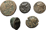 obverse:  Greek  Lot of 6 coins: Drachm, Cisalpine Gaul, 2 AE Neapolis, Cast Trias Akragas, AE Uxentum and an unclassified AE.