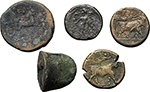 reverse:  Greek  Lot of 6 coins: Drachm, Cisalpine Gaul, 2 AE Neapolis, Cast Trias Akragas, AE Uxentum and an unclassified AE.