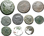 obverse:  Roman Republic. Anonymous issues. Lot of 10 AE: As, Sextans, Semis, Triens, 2 Quadrantes, 3 Unciae and Semuncia.