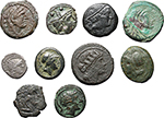 obverse:  Roman Republic. Lot of 10 coins, unclassified. Noted AR Sestertius, AE Litra with sickle and semuncia (Cr. 39/5).