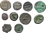 reverse:  Roman Republic. Lot of 10 coins, unclassified. Noted AR Sestertius, AE Litra with sickle and semuncia (Cr. 39/5).